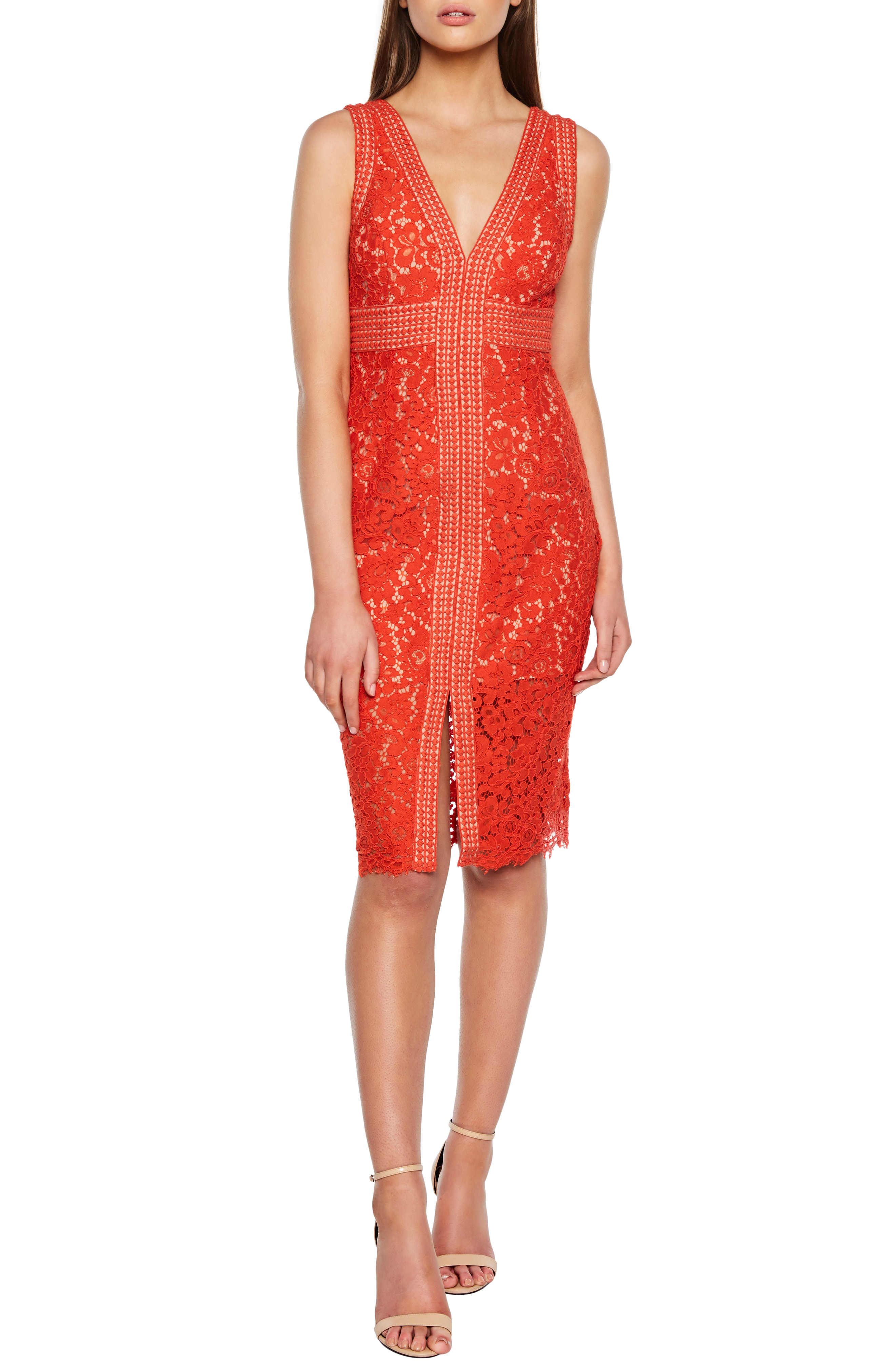 9e51478ec067 Bardot Lace Sheath Dress In Flame Orange | ModeSens