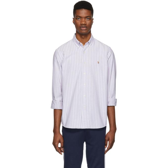 9233d23221253 Polo Ralph Lauren Purple And White Striped Oxford Shirt In 3039F Grape