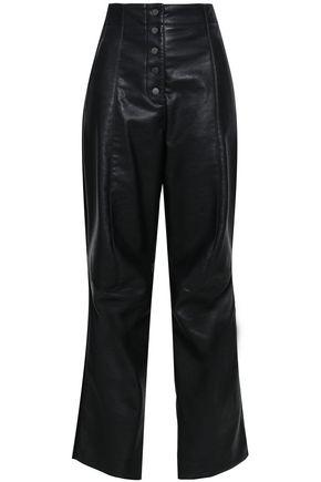STELLA MCCARTNEY STELLA MCCARTNEY WOMAN FAUX LEATHER STRAIGHT-LEG PANTS BLACK,3074457345620056137