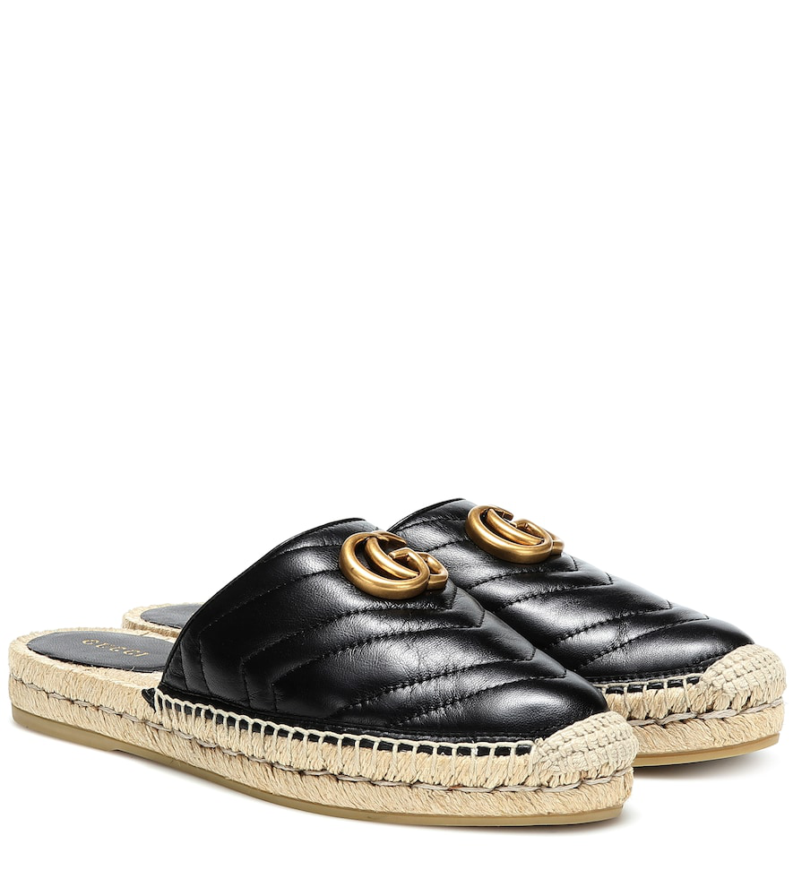 Gucci Marmont Leather Espadrille Mules In Black