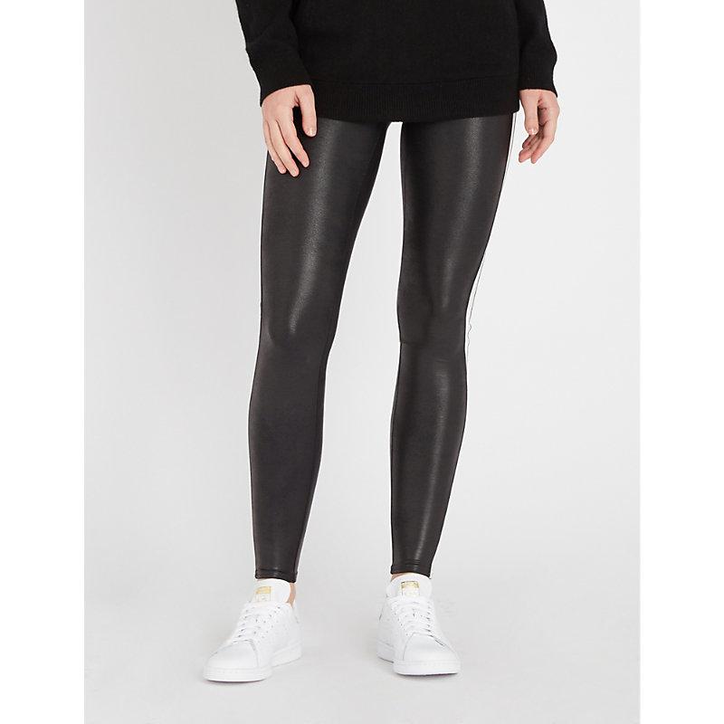 daba3fcb3d Spanx Side-Stripe Faux-Leather Leggings In Vryblk White