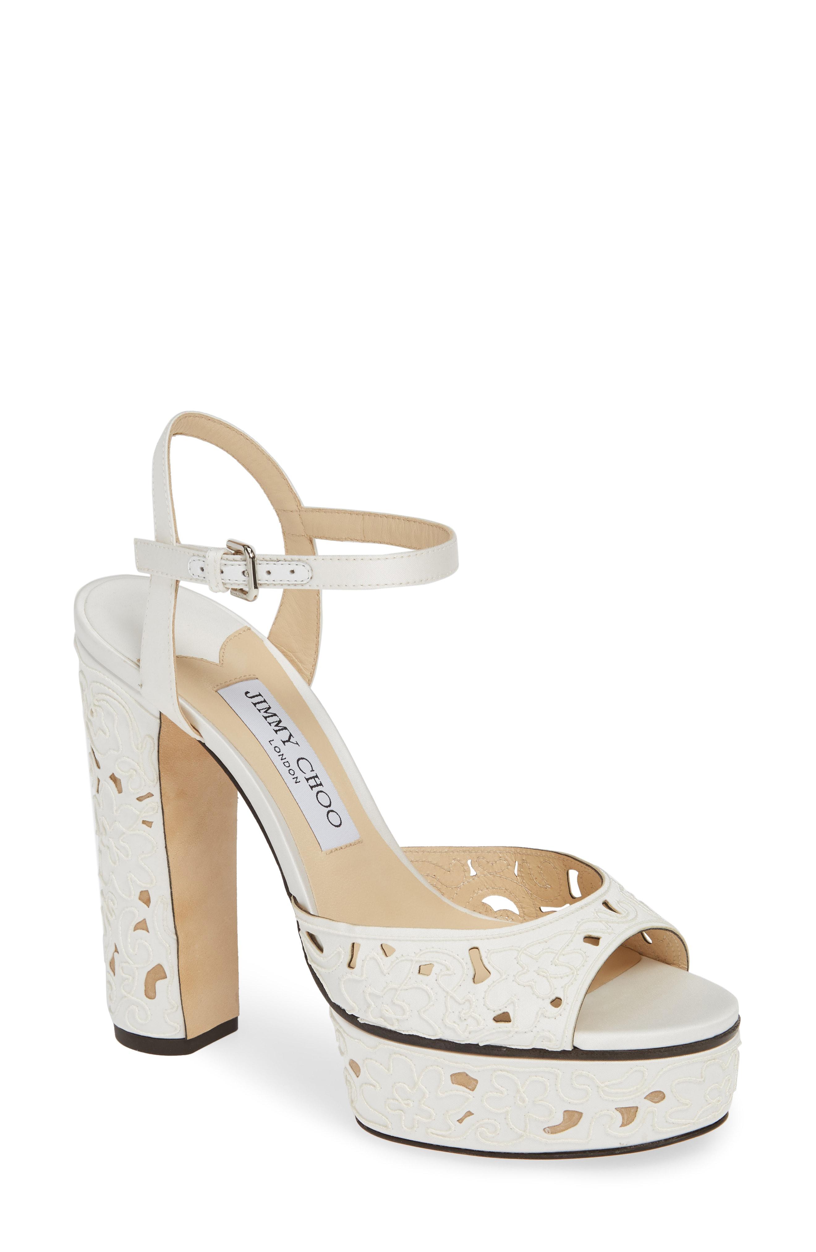 d3bf6d37dc1 Jimmy Choo Peachy Cutout Platform Sandals In White