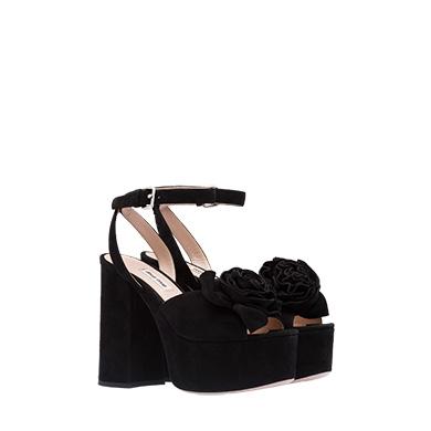 827dda84518 Miu Miu Suede Platform Sandals In Black