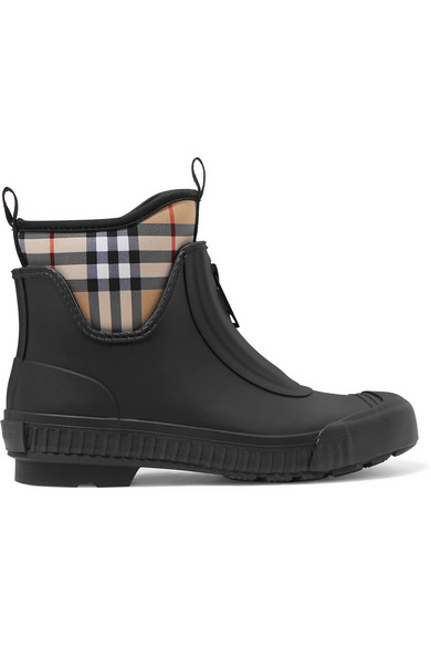 cea42d450eb Burberry Vintage Check Neoprene And Rubber Rain Boots In Black ...
