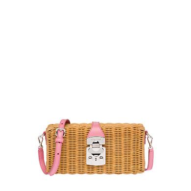 5c71e9dd396 Miu Miu Midollino Rattan   Leather Box Bag In Neutrals