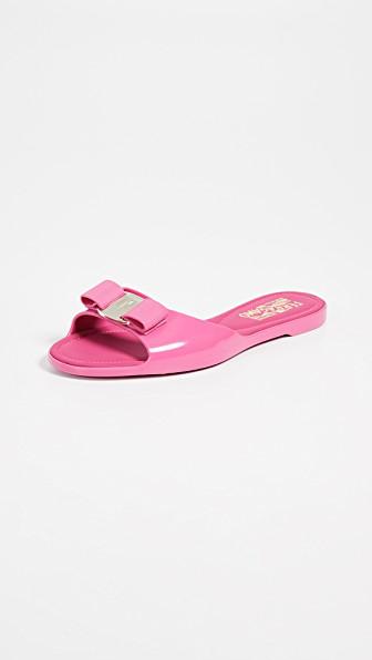 305914288cca5 Salvatore Ferragamo Cirella Flat Pvc Jelly Bow Slide Sandals