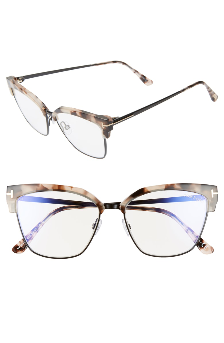 f58cdd260bb TOM FORD cat-eye optical frames in acetate and metal. Lens bridge temple  (in mm)  54-15-140. Clear