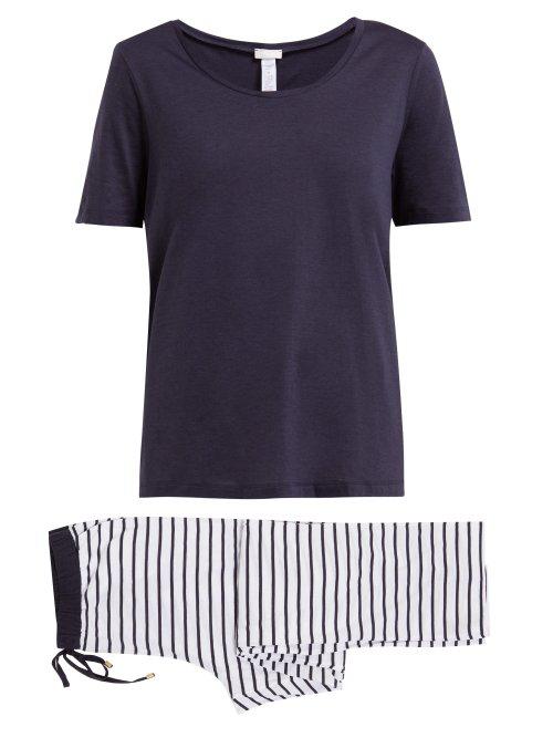 f9c7426bf Hanro - Laura Cotton Blend Pyjamas - Womens - Blue Stripe | ModeSens
