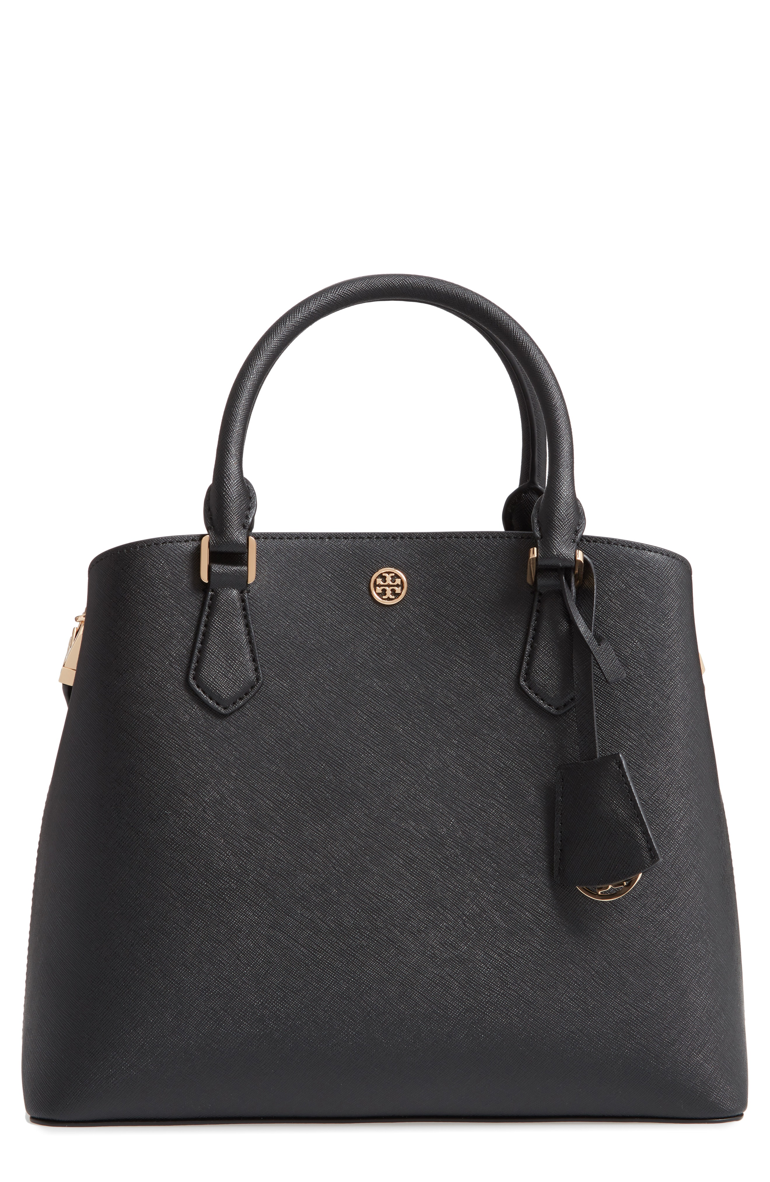 d3c05c2bae6 Rolled top handles and an optional shoulder strap offer covenient carrying  options. Style Name  Tory Burch Medium Robinson Leather Triple Compartment  Bag.