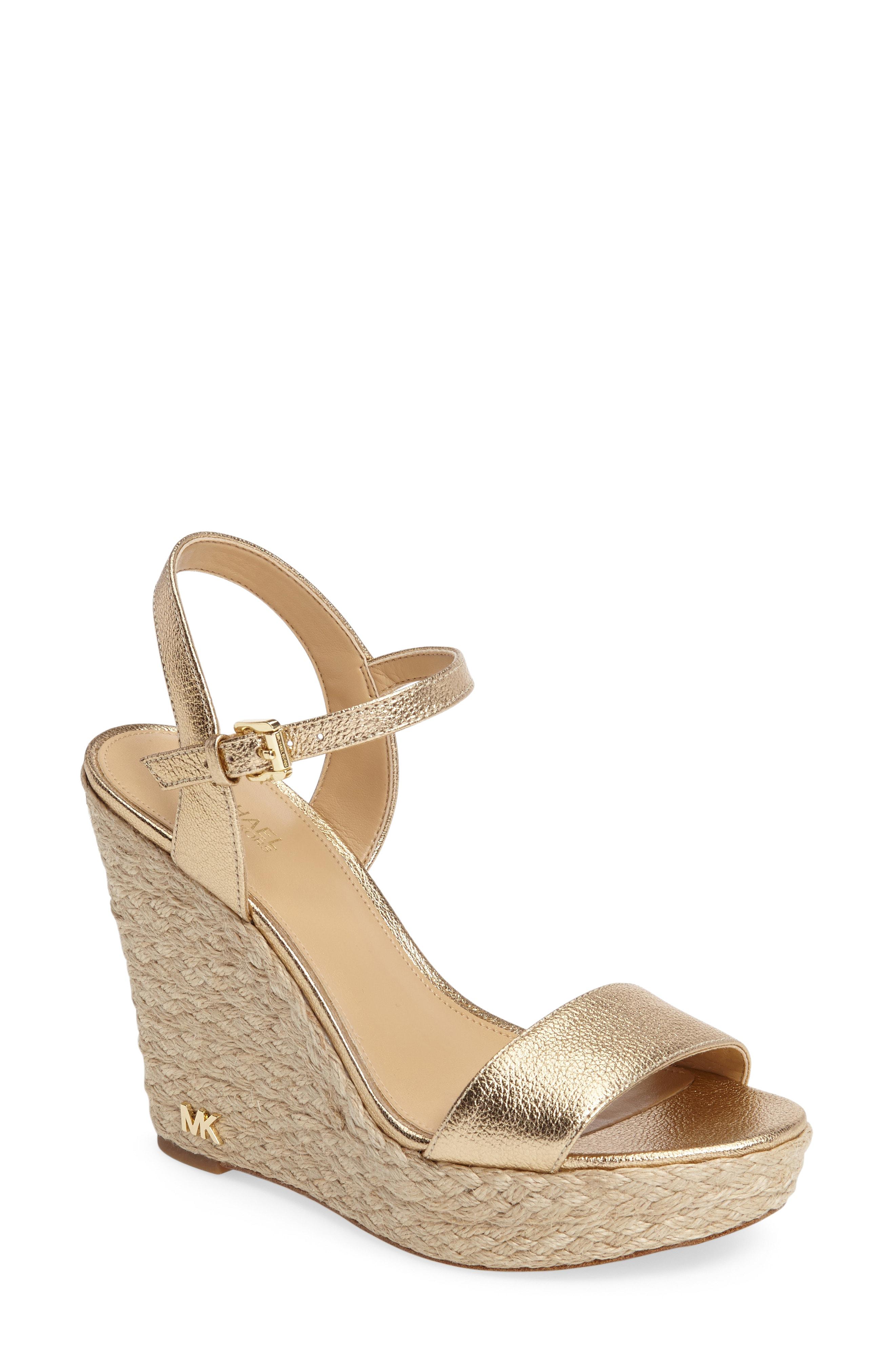 56f3887745f Michael Michael Kors Women s Jill Leather Espadrille Platform Wedge Sandals  In Pale Gold