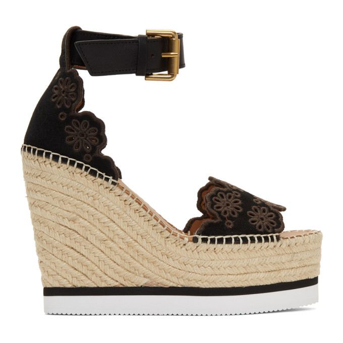 33cbdf10694 See By ChloÉ See By Chloe Black Glyn Wedge Espadrilles Sandals In 999 Black