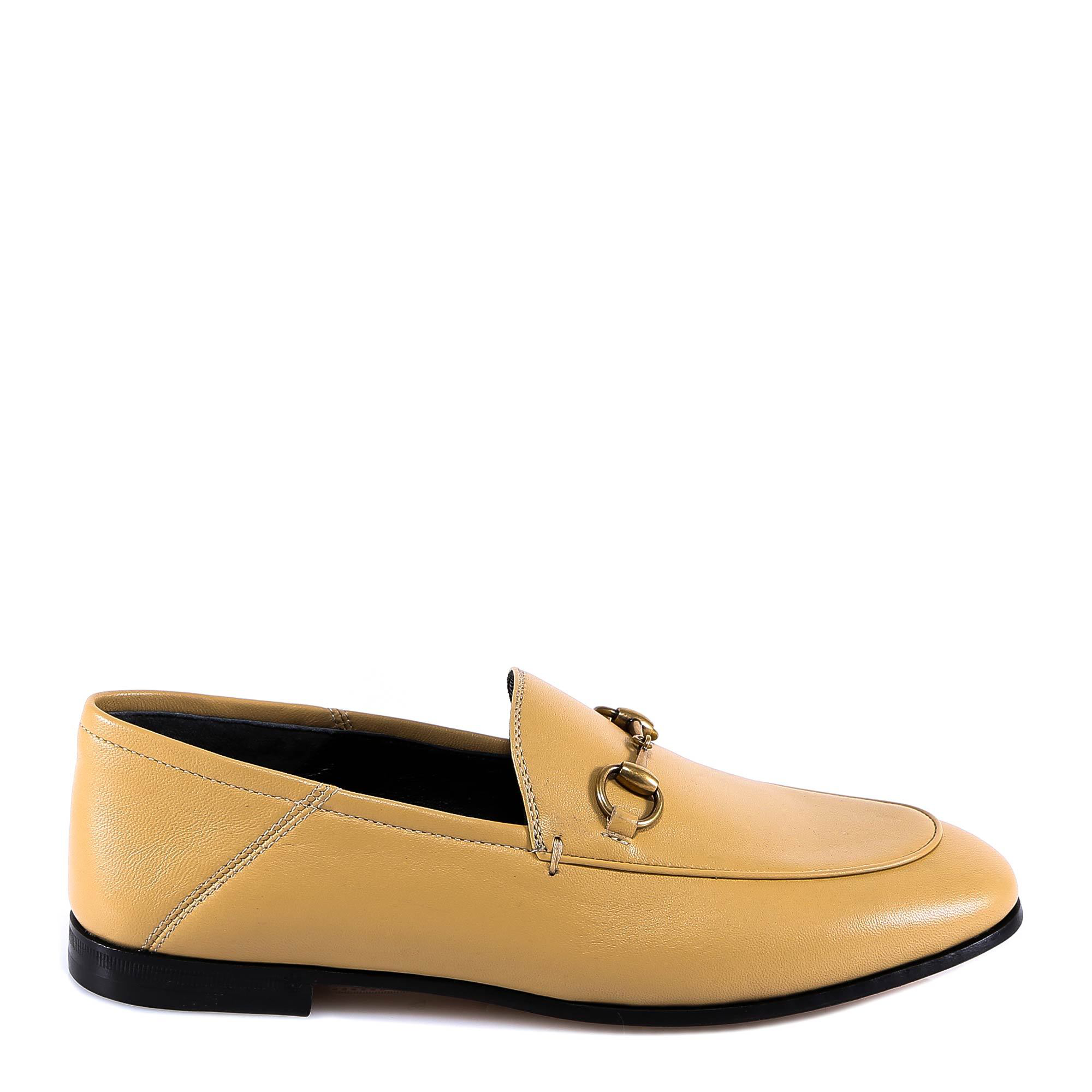 0f754a0a451 Gucci Brixton Horsebit-Detailed Leather Collapsible-Heel Loafers In 2652  Beige