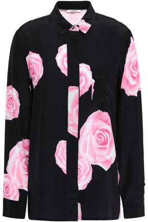 36ca7859 Ganni Floral-Print Silk Crepe De Chine Shirt In Black | ModeSens