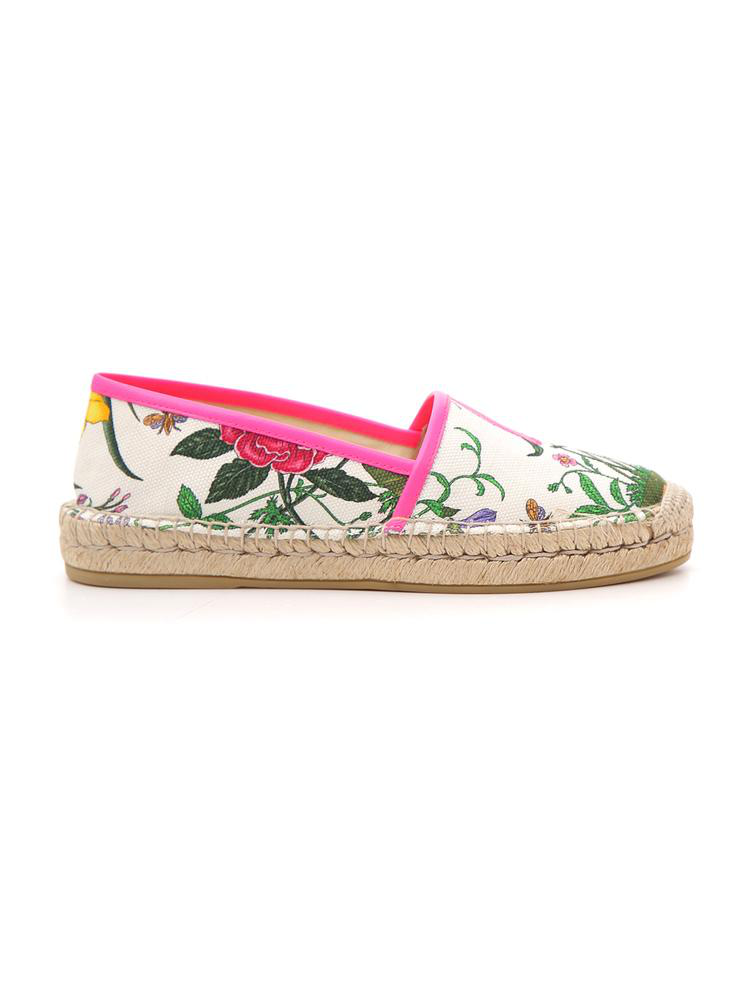 72373133680 Gucci Leather-Trimmed Floral-Print Canvas Espadrilles In White ...