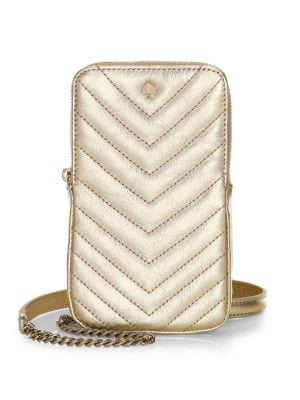 buy online d7233 db9bc Amelia North South Leather Crossbody Phone Pouch in Pale Gold