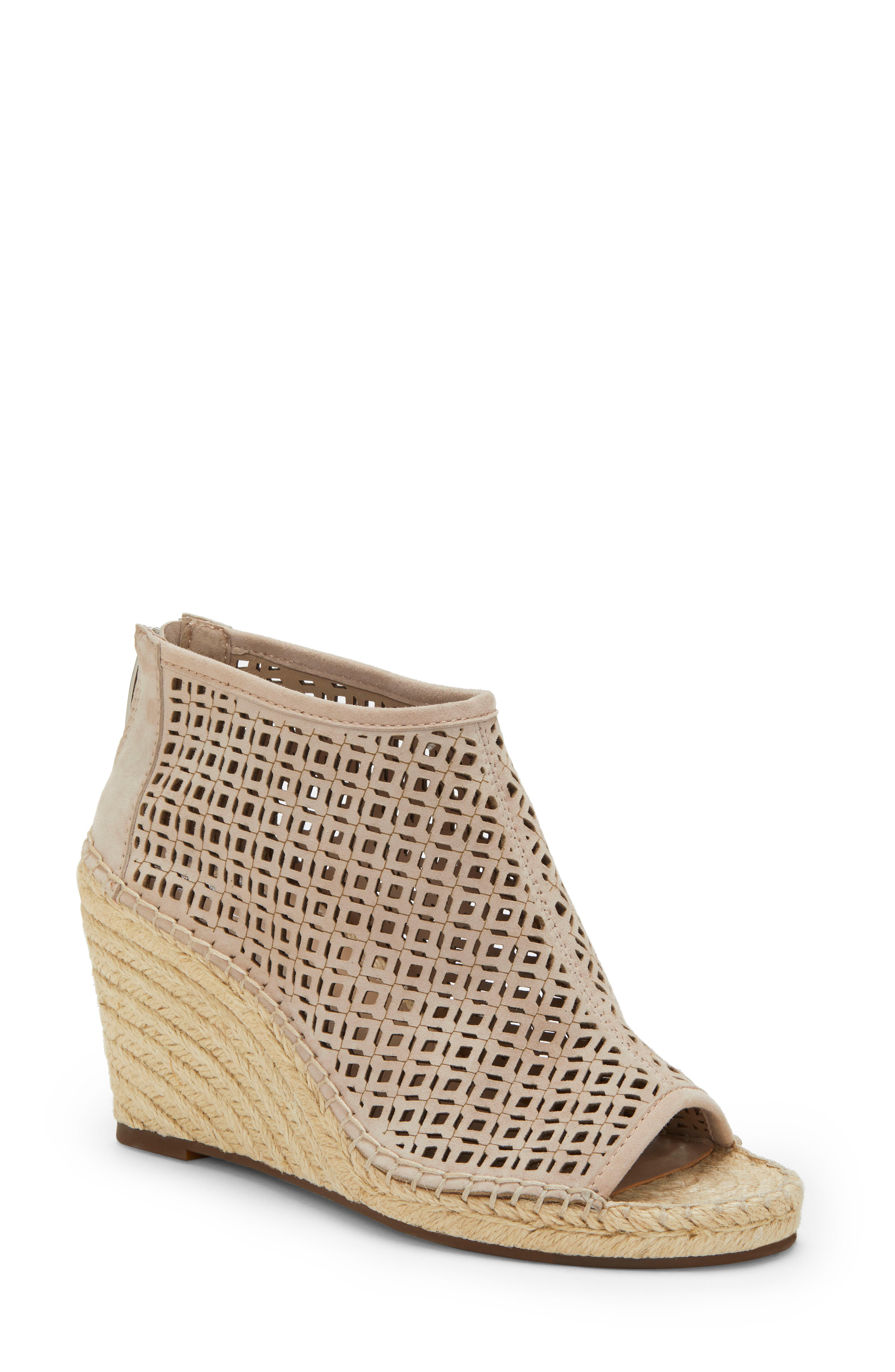 9d6ee3a041f Women's Lereena Caged Leather Peep Toe Espadrille Wedge Sandals in  Moonstone Suede