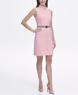 d2b3ad7f94c Tommy Hilfiger Scuba Front Zip Sheath Dress In Ballerina Pink | ModeSens