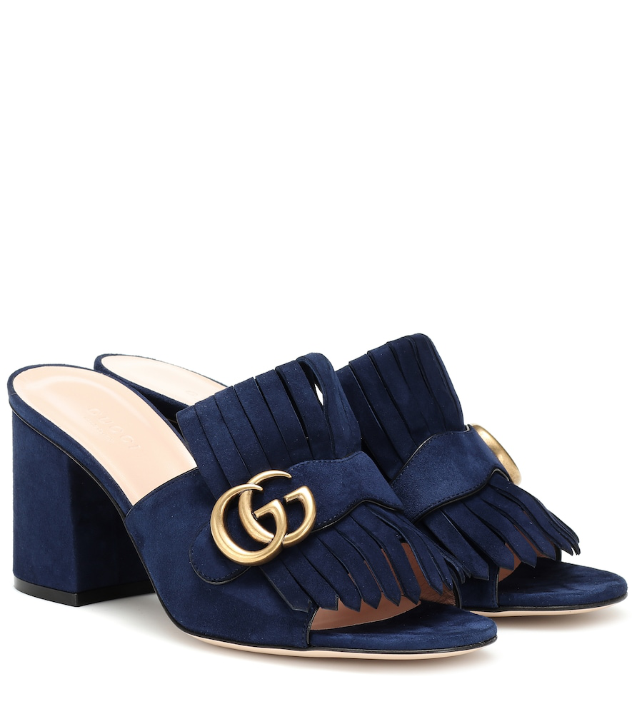Gucci Gg Mid-Heel Fringed Marmont Mules In Blue
