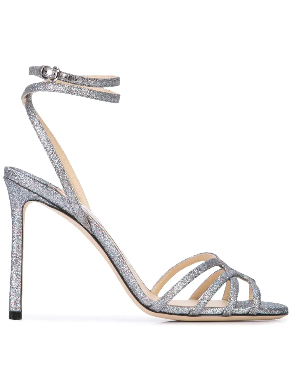ecfcb2f01f2 Jimmy Choo Mimi 100 Anthracite Metallic Nappa Leather Wrap Around Sandals  In Silver