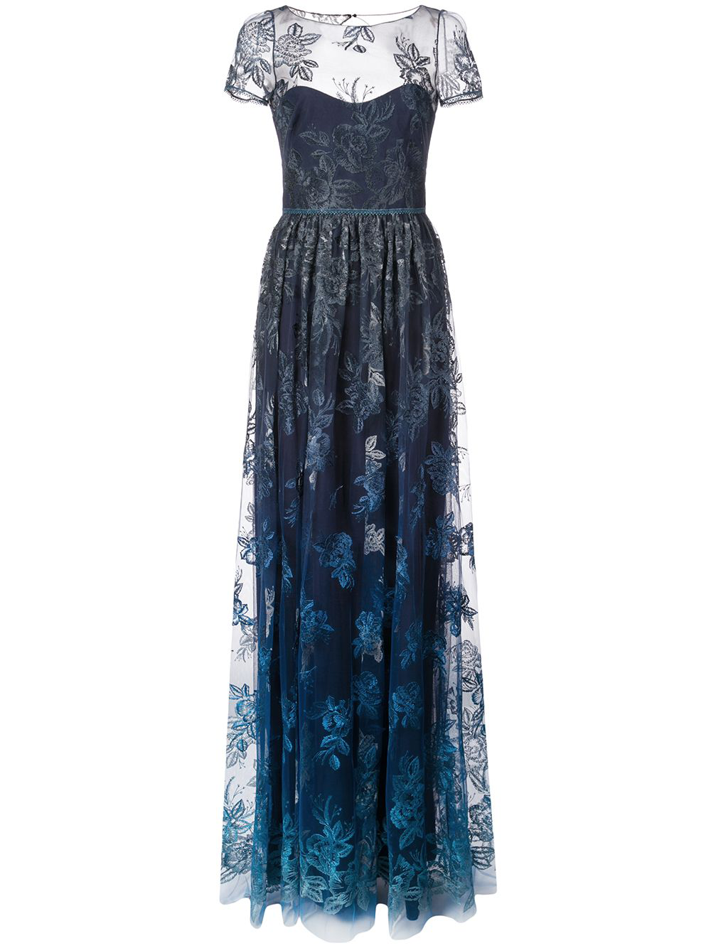 8a00621ed567e Marchesa Notte Sheer Floral Embroidered Gown - Blue