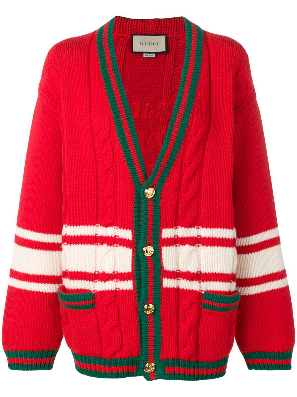 3c36f9f861b Gucci Chateau Marmont Embroidered Striped Cable-Knit Wool Cardigan In Red