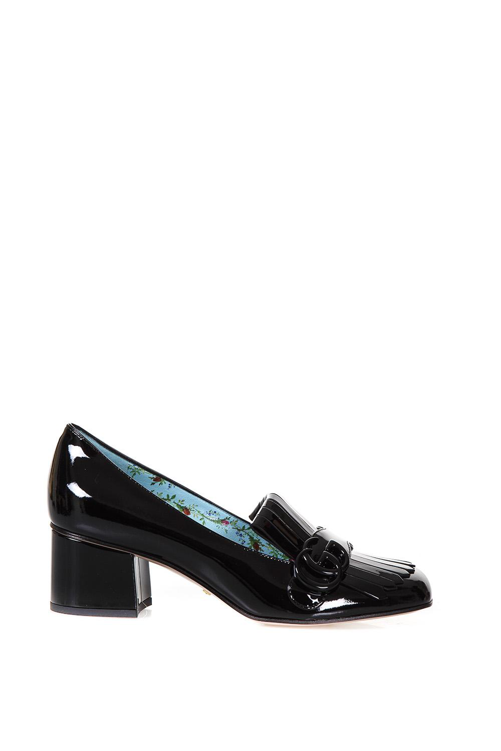 Gucci Marmont Patent Leather Mid-Heel Pump In 1000/Black