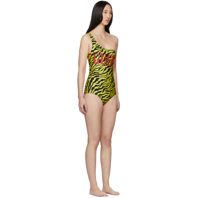Gucci Yellow Zebra Sparkling One-Piece Swimsuit