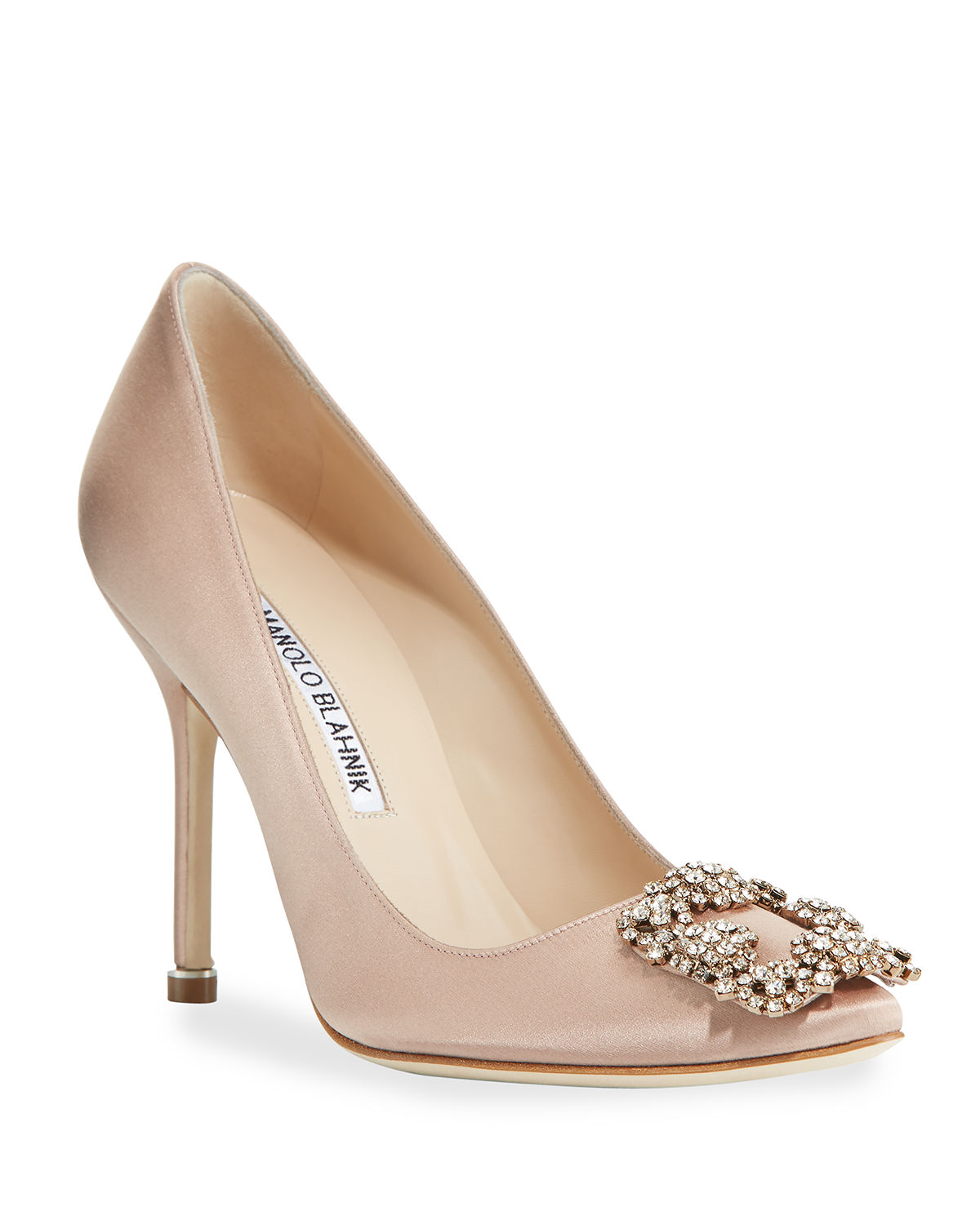 c2050023a3775 Manolo Blahnik Hangisi Crystal-Buckle Satin 105Mm Pump In Flesh Satin