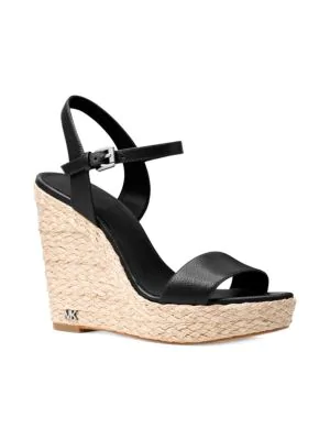 d5ac7ee0e70 Michael Michael Kors Women s Jill Leather Espadrille Platform Wedge Sandals  In 001 Black