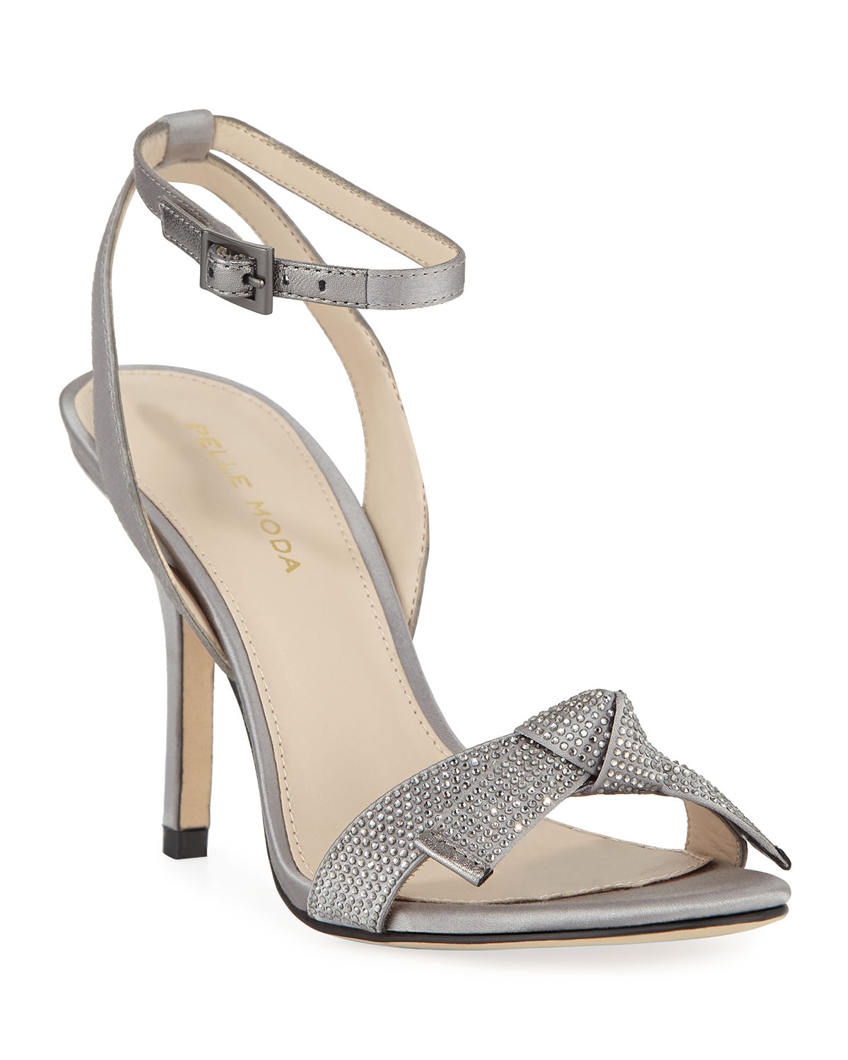 6827925750a Kim Jeweled-Strap High-Heel Sandals in Pewter
