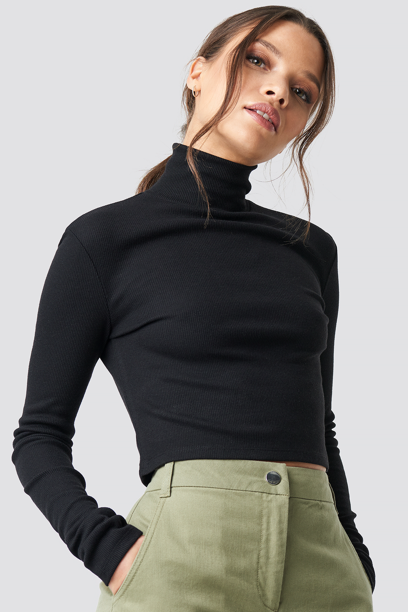 75bd190716b Ivana Santacruz X Na-Kd Ribbed Turtleneck Crop Top - Black | ModeSens