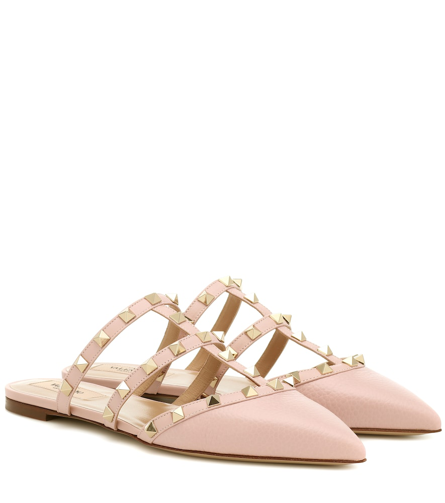 71bd254d46ecb Valentino Garavani Rockstud Leather Slippers In Pink | ModeSens