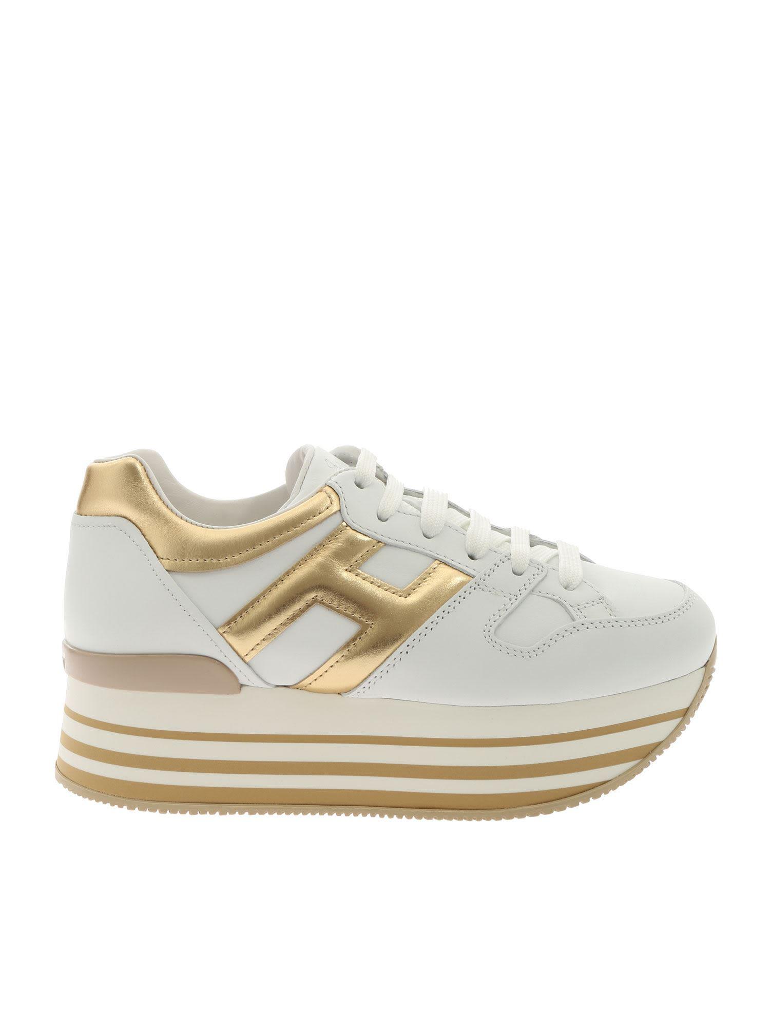 Hogan Maxi H222 Platform Sneakers In White/gold   ModeSens