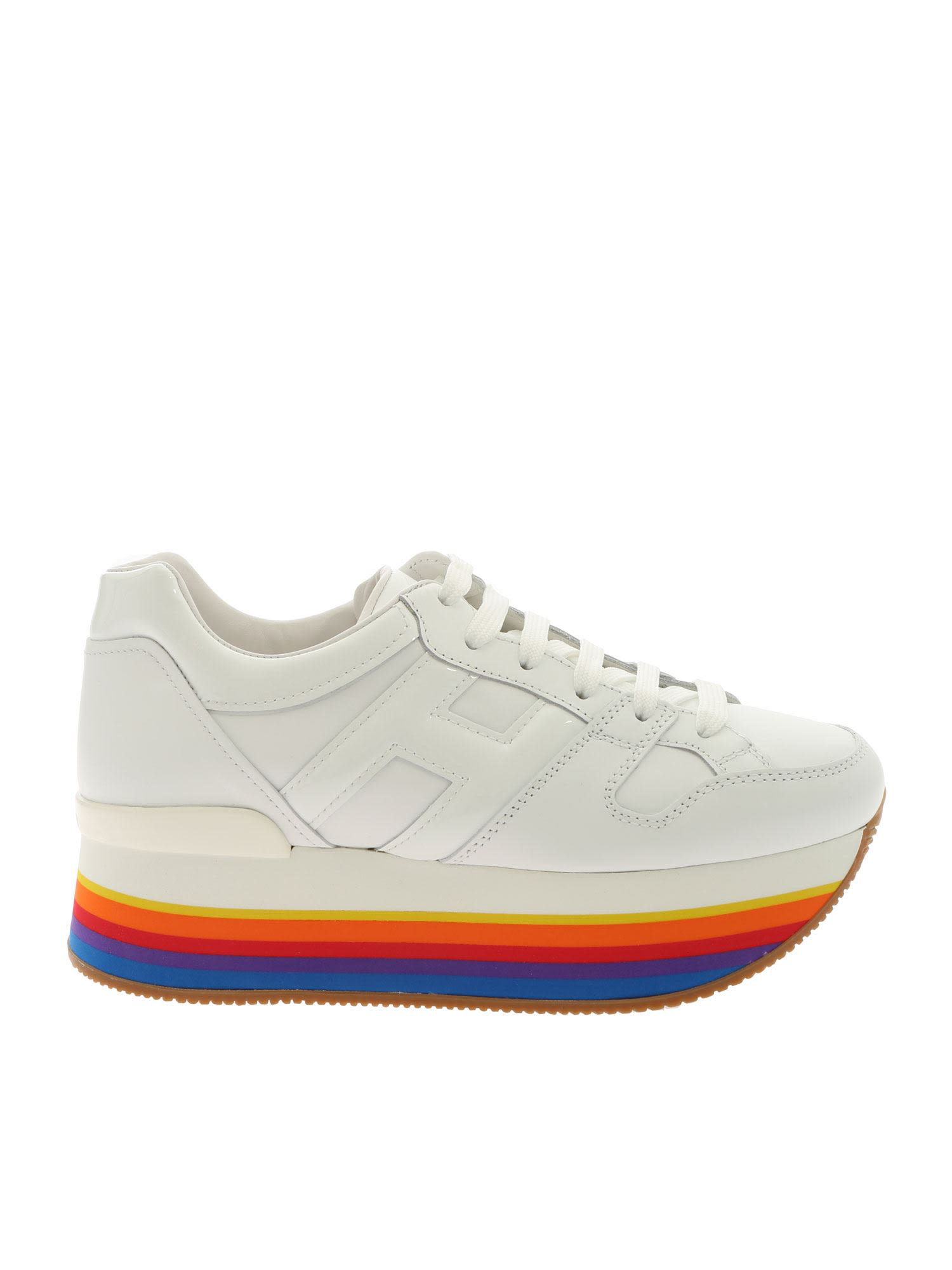 ed9392bcfbf60 Hogan Maxi H222 Platform Sneakers In White