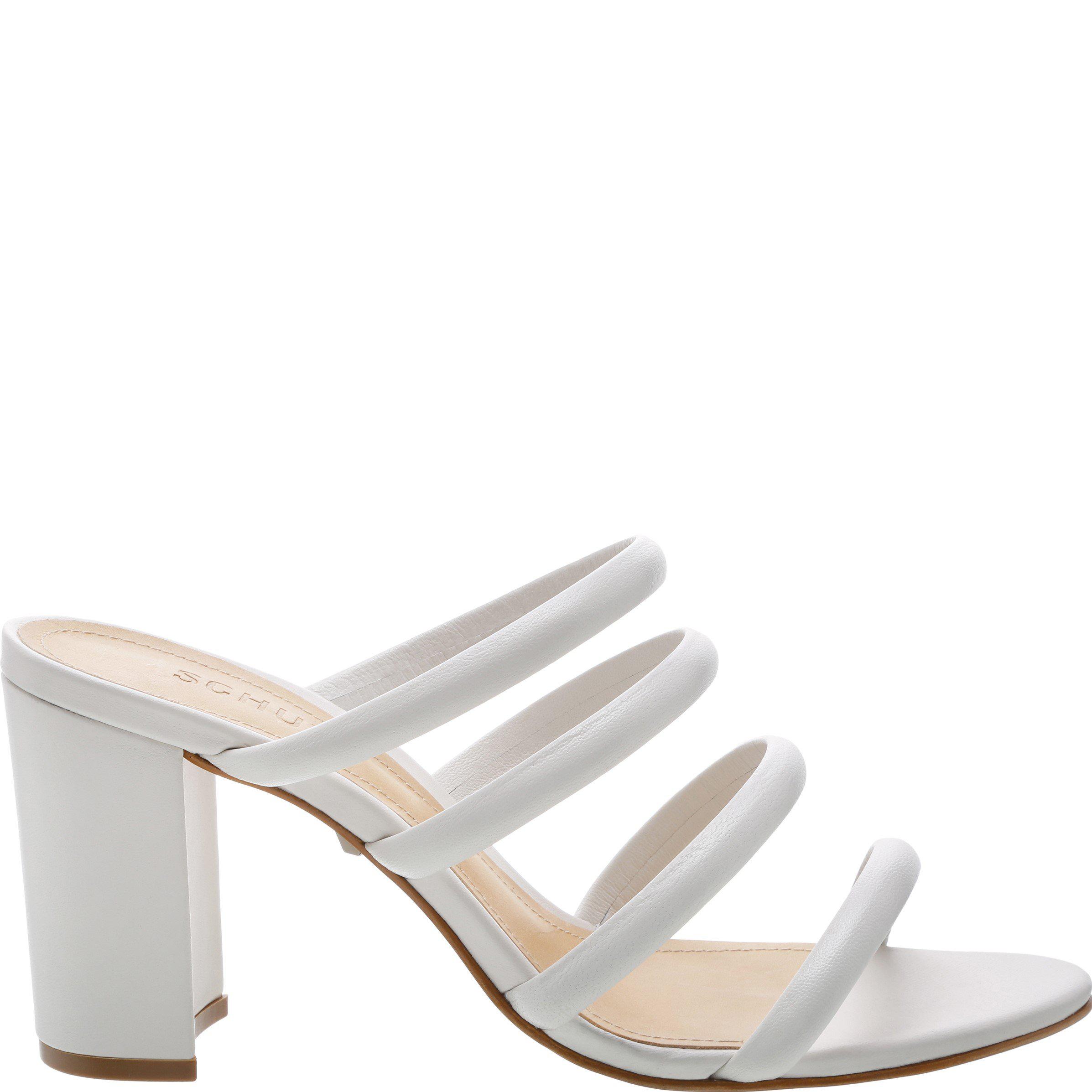 8b4a7a469fe Schutz Women s Felisa Leather High Block-Heel Sandals In Pearl ...