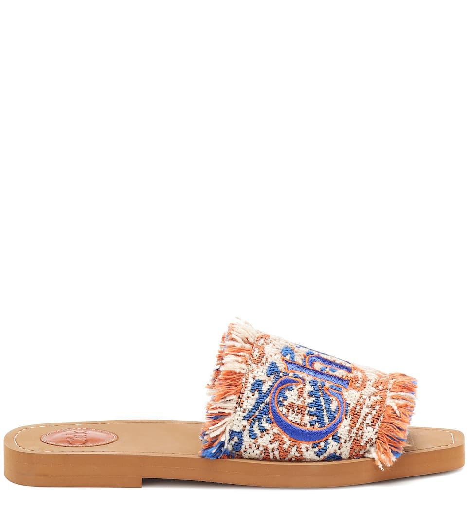 33cd147ea ChloÉ Woody Flat Fringed Slide Sandals