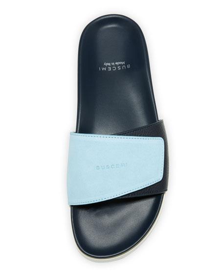 2dba38bd2dec Buscemi Men s Scratch Leather Slide Sandals In Blue
