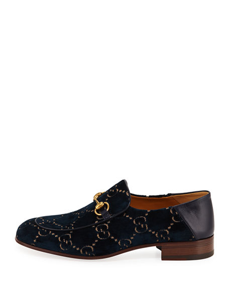 Gucci Horsebit Collapsible Leather Loafer In Blue