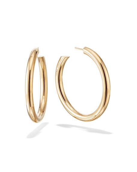 Hollow 14k Gold Hoop Earrings