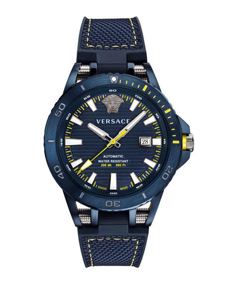 Versace Sport Tech Diver Automatic Textile Strap Watch, 45Mm In Blue