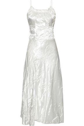 Victoria Beckham Woman Crinkled Satin Midi Dress White