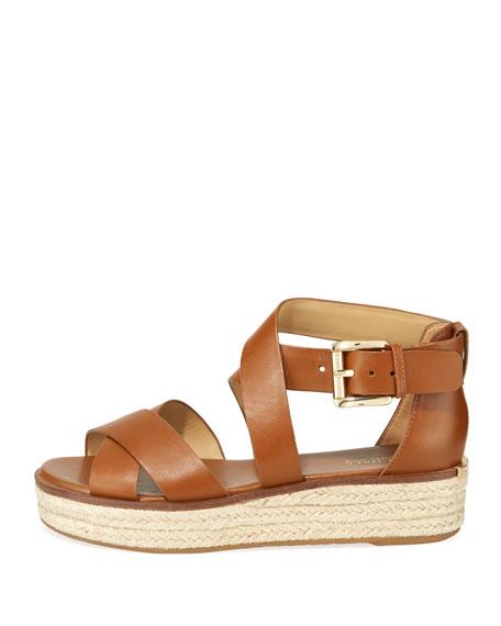 7cd6de60c2db Michael Michael Kors Darby Leather Flatform Espadrille Sandals In Luggage  Vachetta Leather