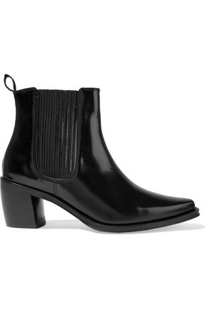 Alexa Chung Alexachung Woman Glossed-Leather Ankle Boots Black