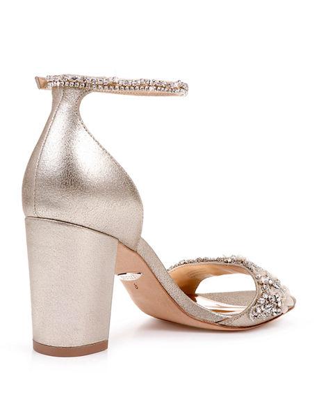 6732c3005 Badgley Mischka Women s Finesse Ii Embellished Block Heel Sandals In  Platino Metallic Satin