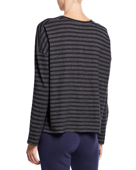 338f6bc9fb Vince Bengal-Stripe Scoop-Neck Long-Sleeve Cotton Tee In Heather Carbon