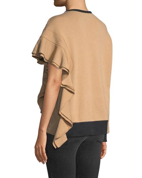 N°21 Asymmetric Ruffled Sweatshirt In White