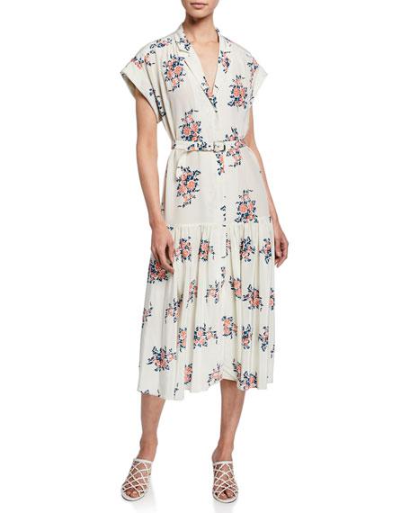 483418114 Veronica Beard Meagan Floral Dropped-Waist Midi Dress In White Multi ...