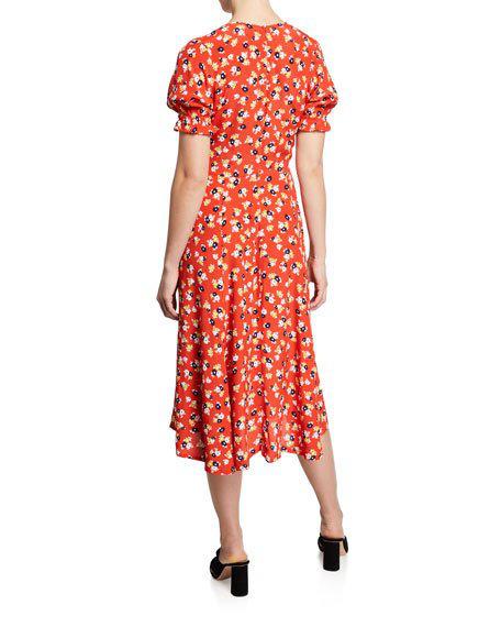 89acdfa651f Faithfull The Brand Ari Floral-Print V-Neck Short-Sleeve Midi Dress ...