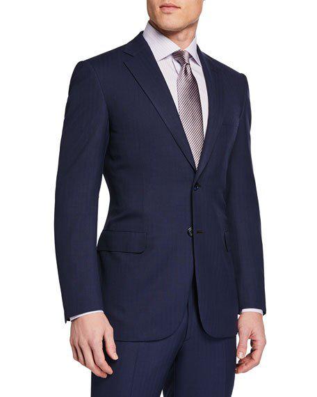 Brioni Men's Herringbone Two-Piece Suit In Navy