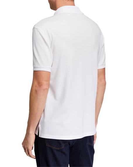 杰尼亚logo_Ermenegildo Zegna Mens Logo-embroidered Jersey Polo Shirt, White   ModeSens